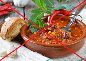 Острая пища запрещена