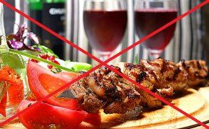 острая еда и алкоголь под строгим запретом